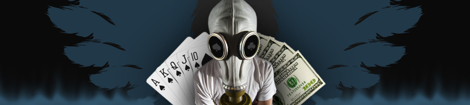 Man with gasmask, cards & money